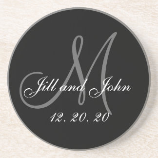 Black Gray Elegant Monogram Wedding Beverage Coaster