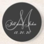 Black Gray Elegant Monogram Wedding Drink Coasters