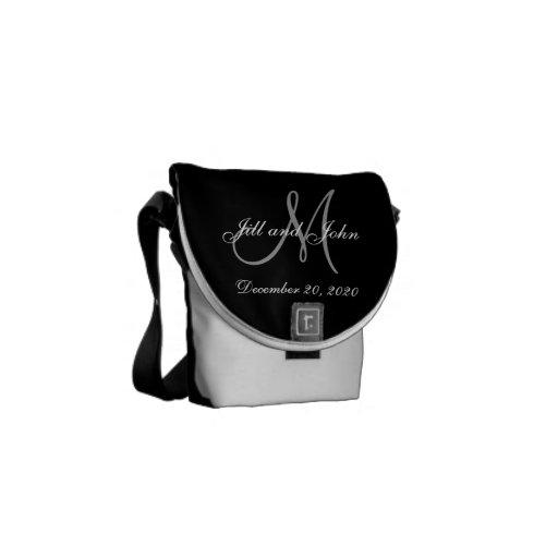 Black Gray Elegant Monogram Wedding Messenger Bag