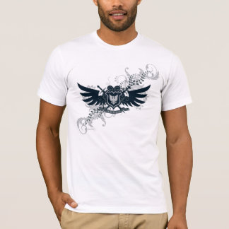 Black Gray Floral Winged Shield T-Shirt