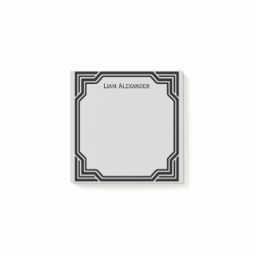 Professional Business Black & Gray Framed Classic Border | Personalized Post-it Notes