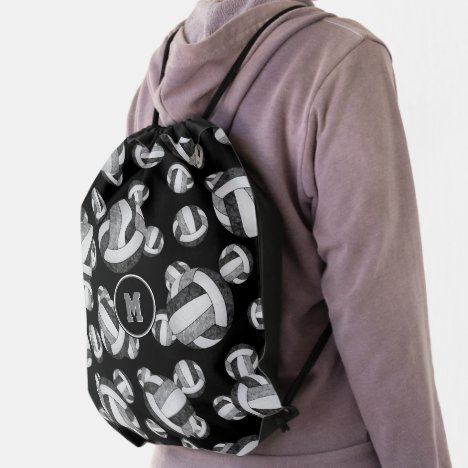 black gray girly volleyball team colors drawstring bag