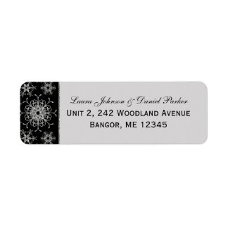 Black Gray Glitter Snowflakes Return Address Label