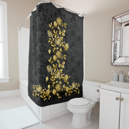 Black Gray Gold Fl Toile Shower Curtain