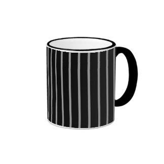 Black Gray Grey Pinstripe Stripe Pattern Mug