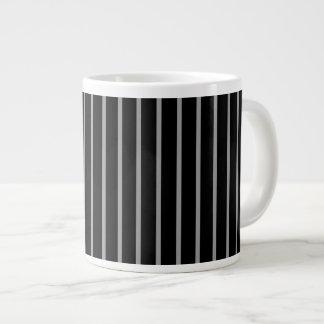 Black Gray Grey Pinstripe Stripe Pattern Extra Large Mugs