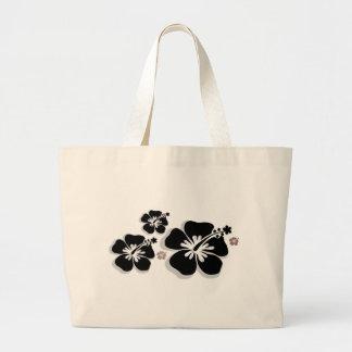 Black gray Hibiscus Bags