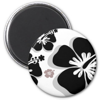 Black gray Hibiscus Magnet