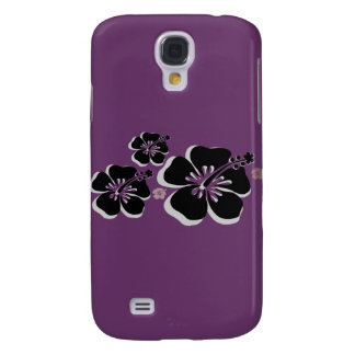 Black gray Hibiscus Samsung Galaxy S4 Covers