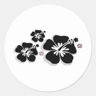 Black gray Hibiscus Stickers