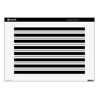 """Black Gray Horizontal Stripes Decals For 15"""" Laptops"""