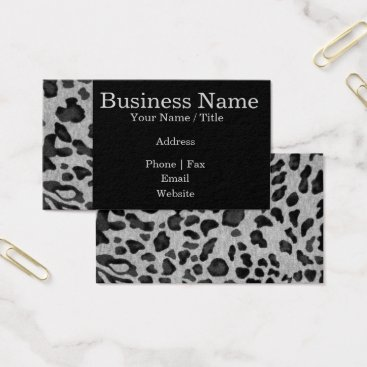 "Professional Business ""Black & Gray Leopard"" Business Card"
