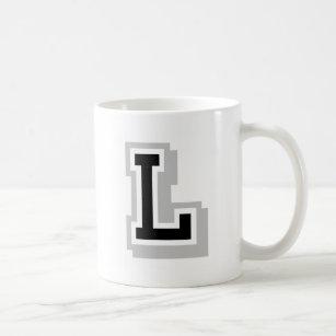 black gray letter l coffee mug