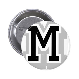 black gray letter M 2 Inch Round Button