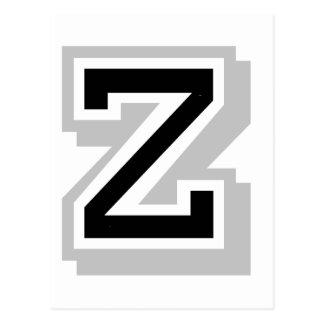 black gray letter Z Postcard