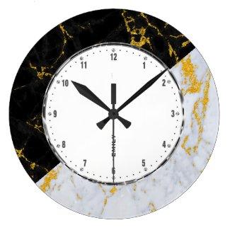 Black & Gray Marble, Gold Accent Geometric Design