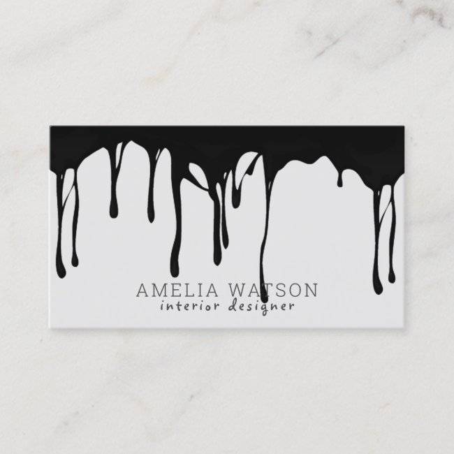 Black Gray Modern Abstract Dripping Seamless Paint Business Card
