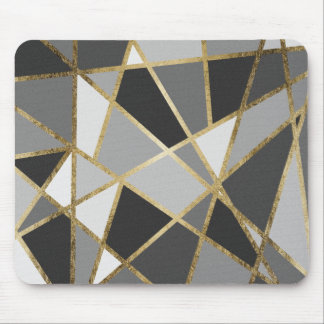 Black & Gray Modern Geo Gold Triangles Mouse Pad