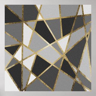Black & Gray Modern Geo Gold Triangles Poster