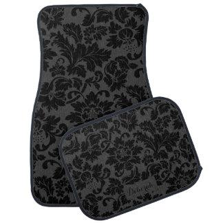 Black & Gray Monochromatic Floral Pattern Car Mat