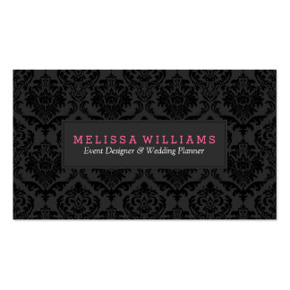 Black & Gray Monochromatic Vintage Floral Damask Business Card