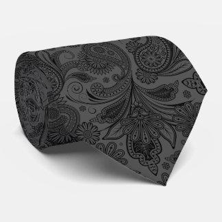 Black & Gray Monochromatic Vintage Ornate Paisley Tie
