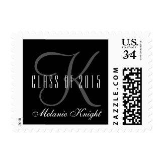 Black Gray Monogram Class Of 2015 Graduation Stamp