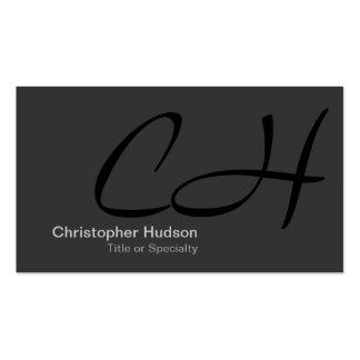 Black Gray Monogram Consultant Business Card