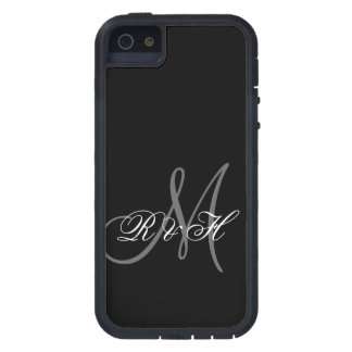BLACK GRAY MONOGRAM INITIALS CASE FOR iPhone SE/5/5s