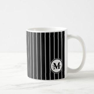 Black Gray Monogram Pinstripe Stripe Pattern Coffee Mugs