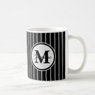 Black Gray Monogram Pinstripe Stripe Pattern Mugs