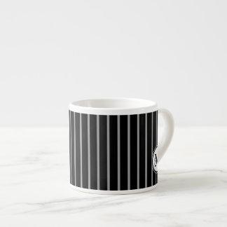 Black Gray Monogram Pinstripe Stripe Pattern Espresso Mugs