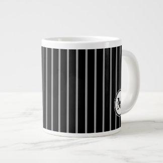 Black Gray Monogram Pinstripe Stripe Pattern Jumbo Mug