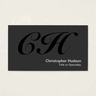 Black Gray Monogram Standard Size Business Card