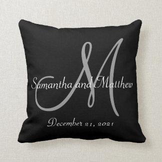 Black Gray Monogram Wedding Throw Pillows