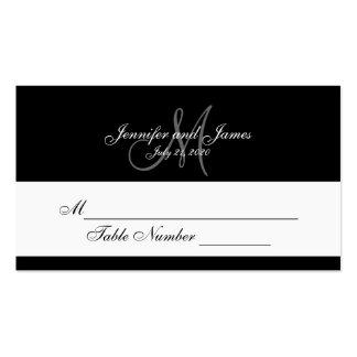Black Gray Monogram Wedding Place Cards Business Card