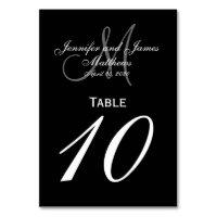 Black Gray Monogram Wedding Table Number Card