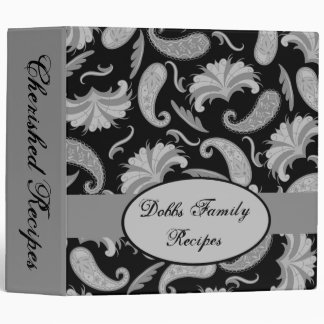 Black Gray Name Personalized Paisley Album Custom Binder