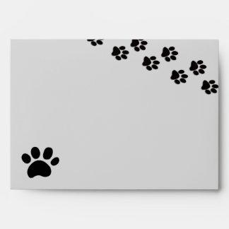 Black/Gray Paw Print - Envelope