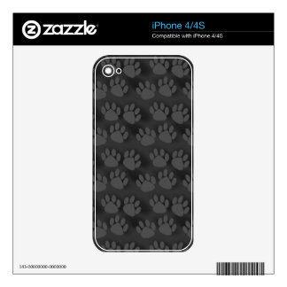 Black Gray Paw Prints Pattern Decal For The iPhone 4S