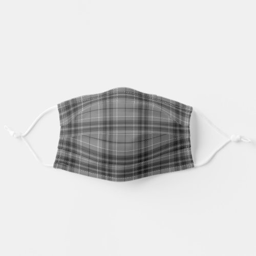 Black Gray Plaid Pattern Cloth Face Mask
