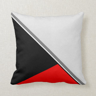 Black Gray Red Acrylic Block Painting Throw Pillow