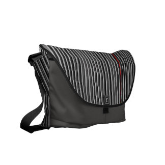 Black, Gray & Red Pin Stripes Mens Messenger Courier Bag