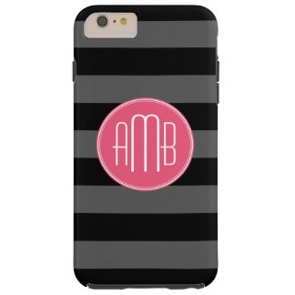 Black & Gray Rugby Stripes with Hot Pink Monogram Tough iPhone 6 Plus Case