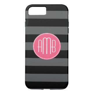 Black & Gray Rugby Stripes with Hot Pink Monogram iPhone 7 Plus Case
