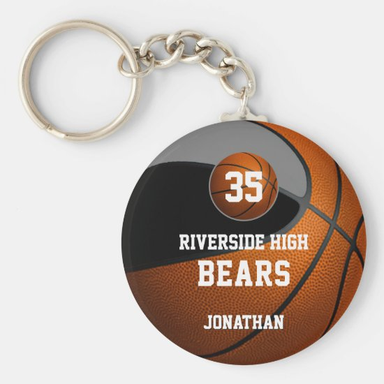 Black gray school colors boys' basketball team keychain