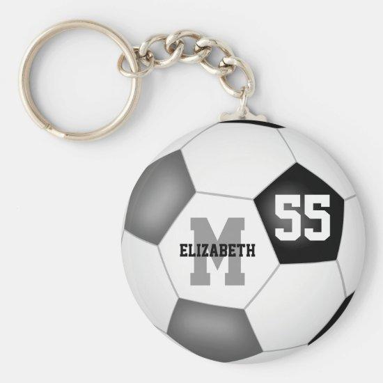 black gray school colors girls boys soccer ball keychain