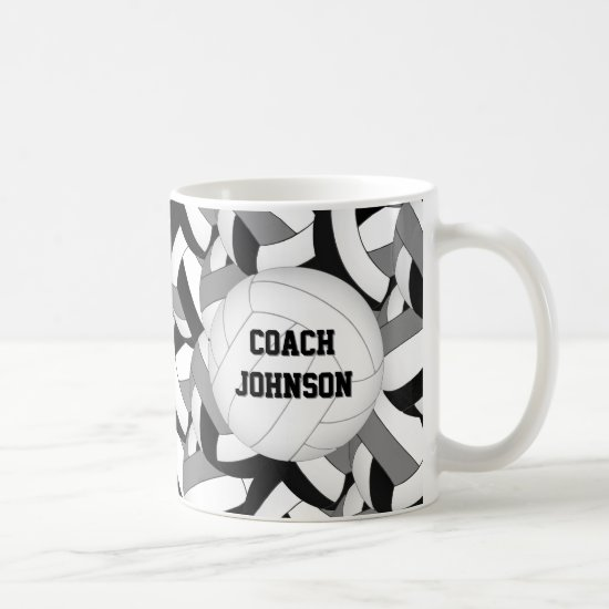 black gray school colors volleyball coach gift coffee mug