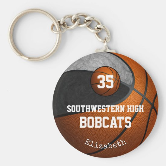 Black gray school team colors girls' basketball keychain