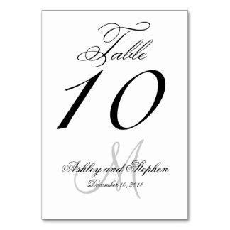 Black , Gray Script Wedding Table Cards